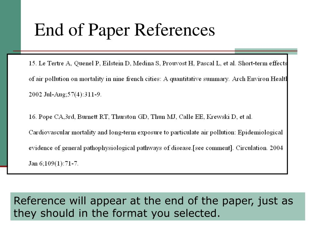End of Paper References