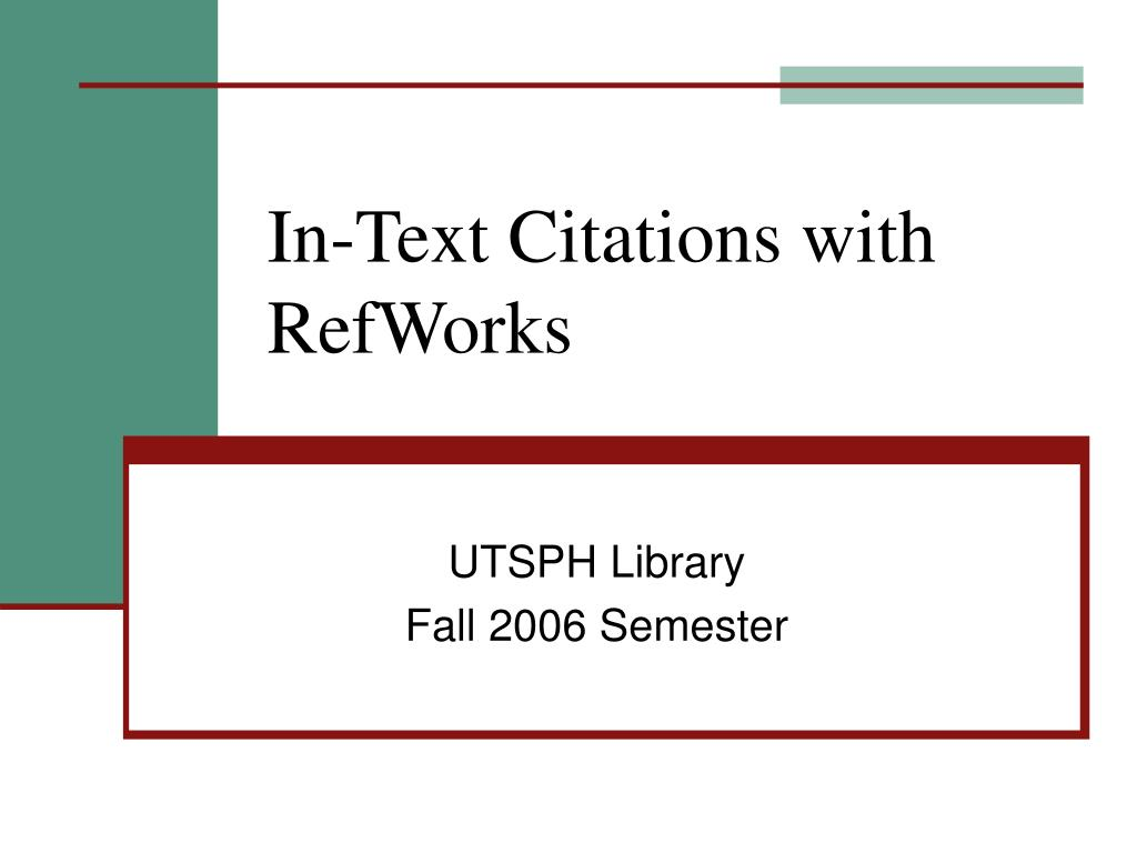 In-Text Citations with RefWorks