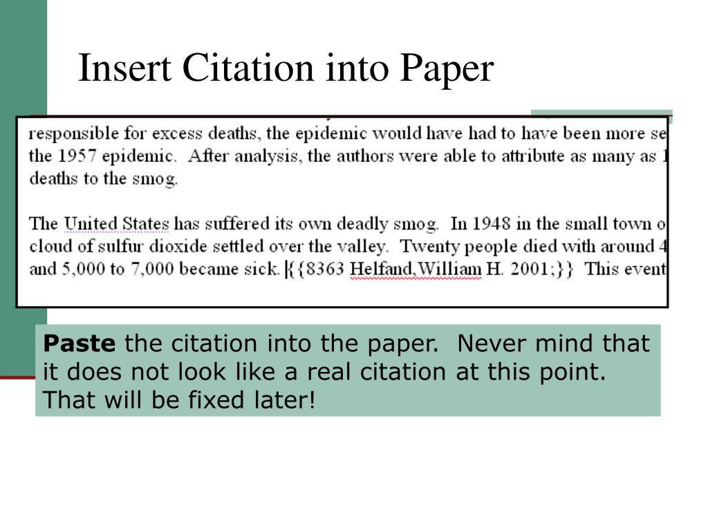 Insert Citation into Paper