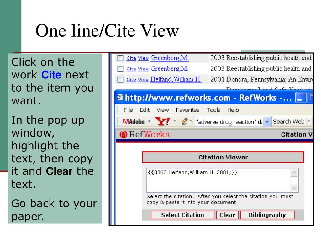 One line/Cite View