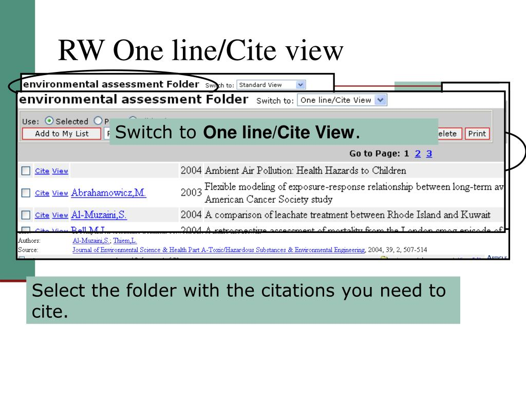 RW One line/Cite view