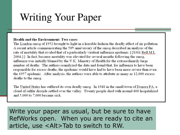 Writing your paper