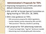 administration s proposals for tdfs