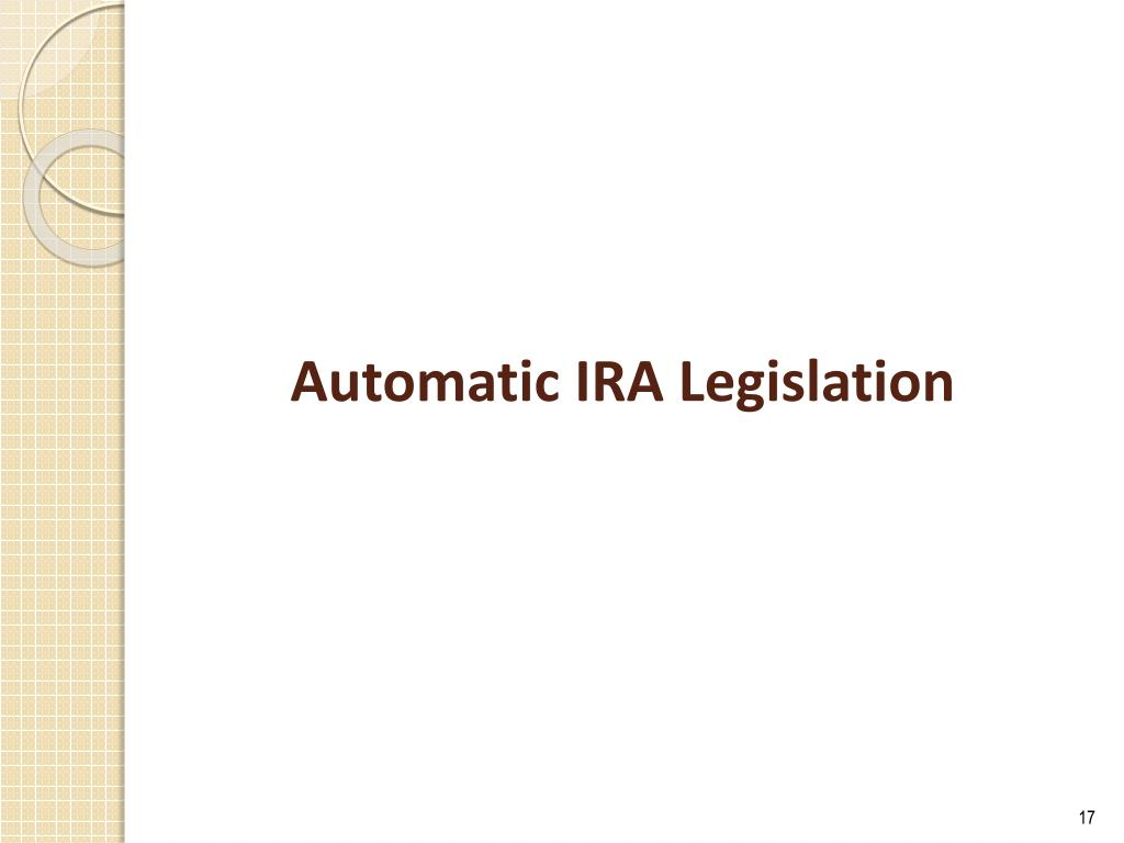 Automatic IRA Legislation