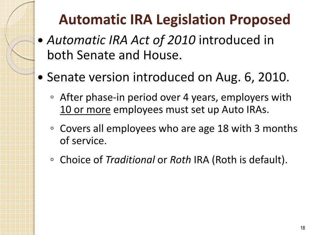 Automatic IRA Legislation Proposed