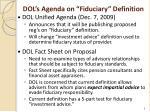 dol s agenda on fiduciary definition