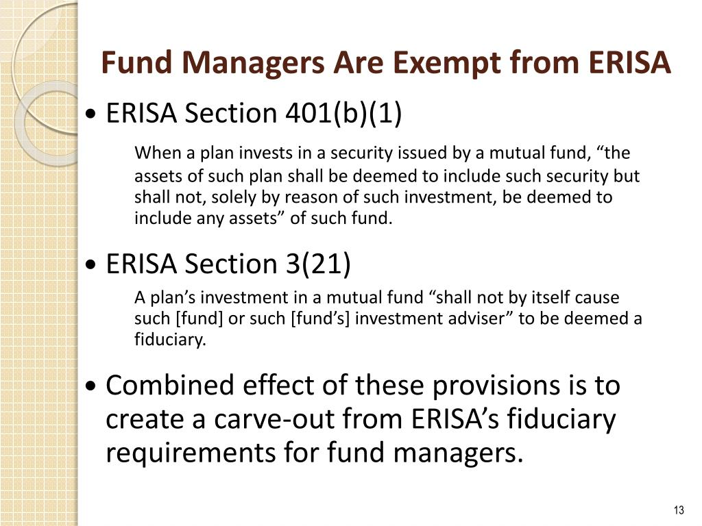Fund Managers Are Exempt from ERISA