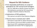 request for dol guidance