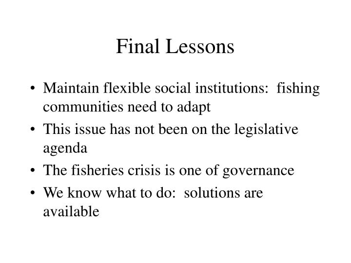 Final Lessons