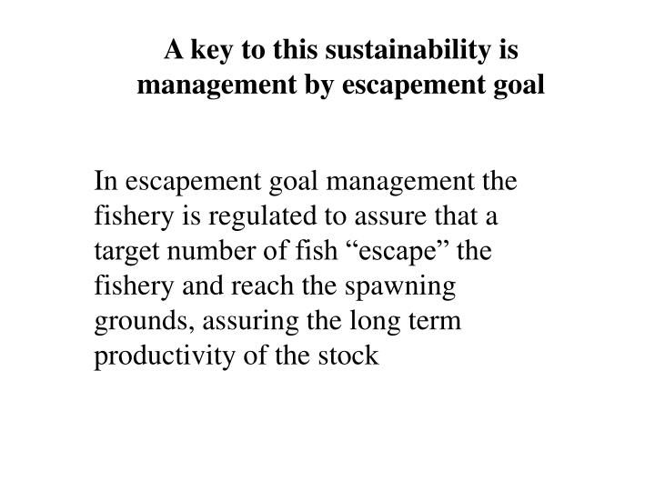 A key to this sustainability is management by escapement goal
