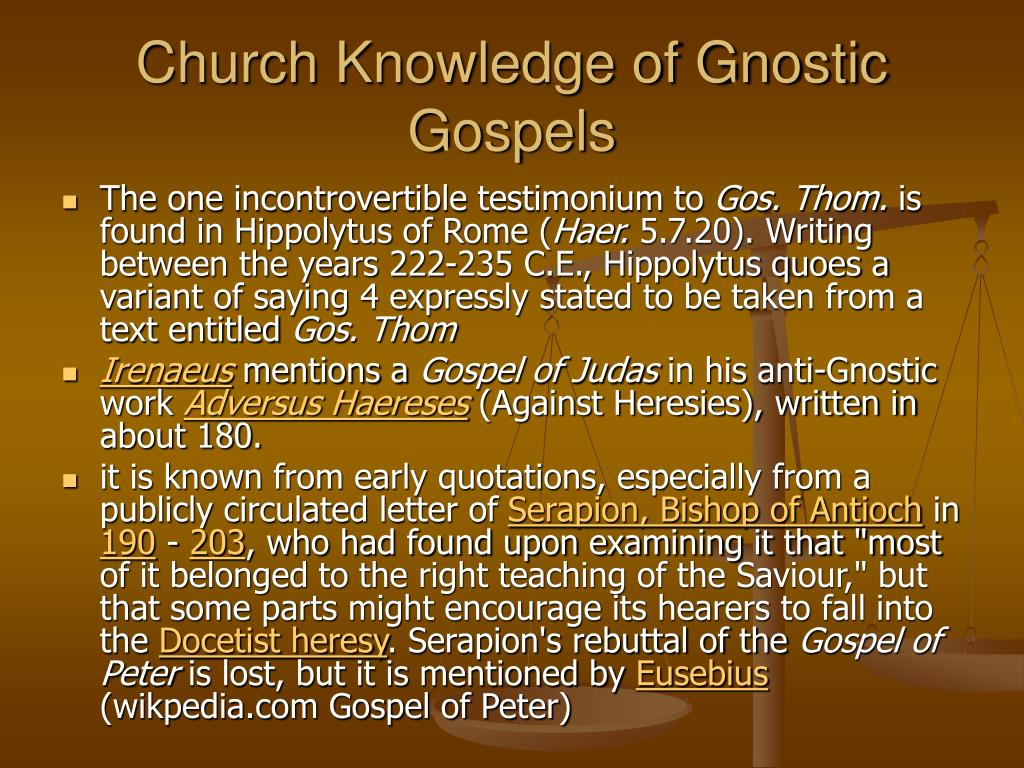 Church Knowledge of Gnostic Gospels