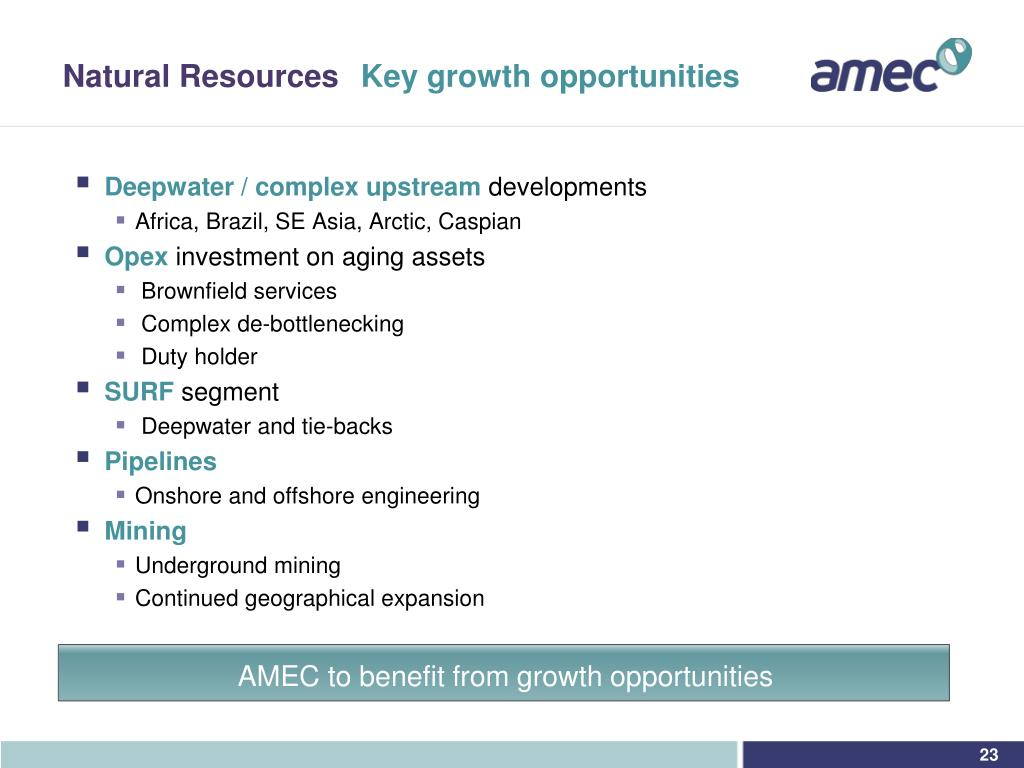 AMEC to benefit from growth opportunities