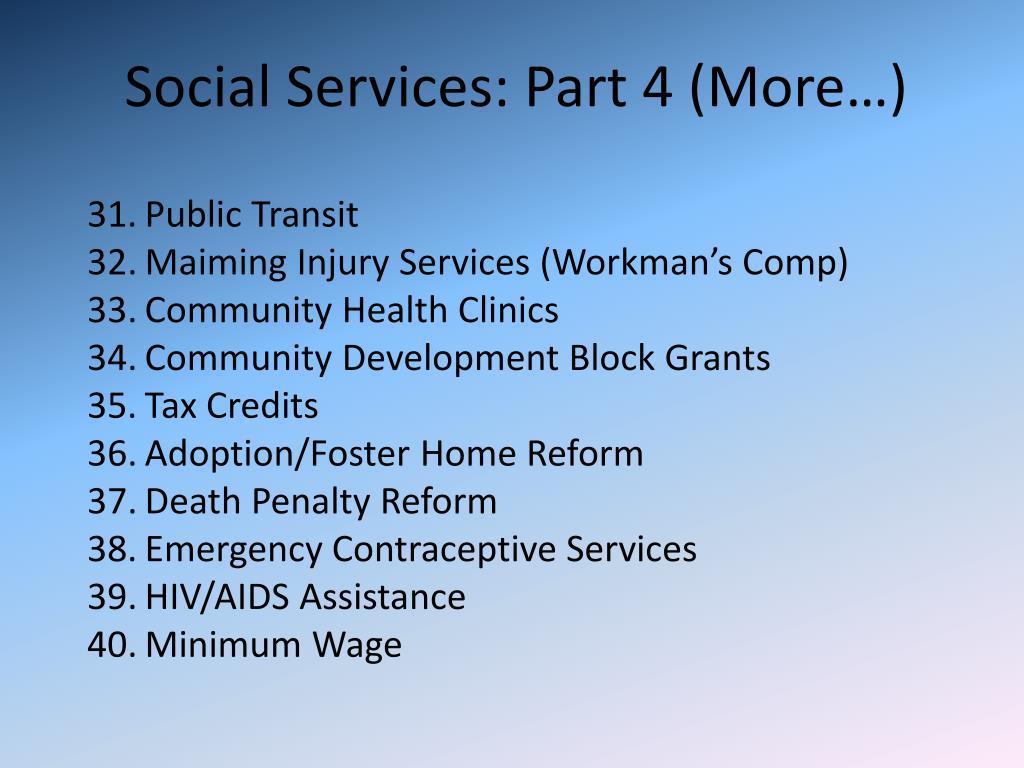 Social Services: Part 4 (More…)