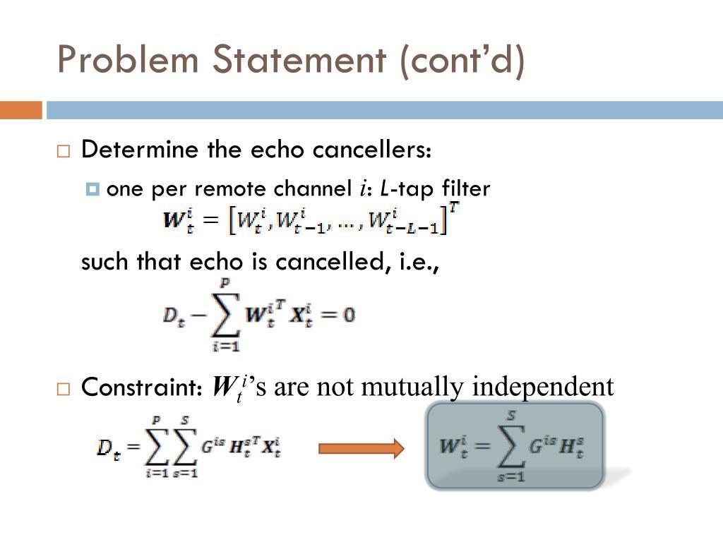Problem Statement (cont'd)