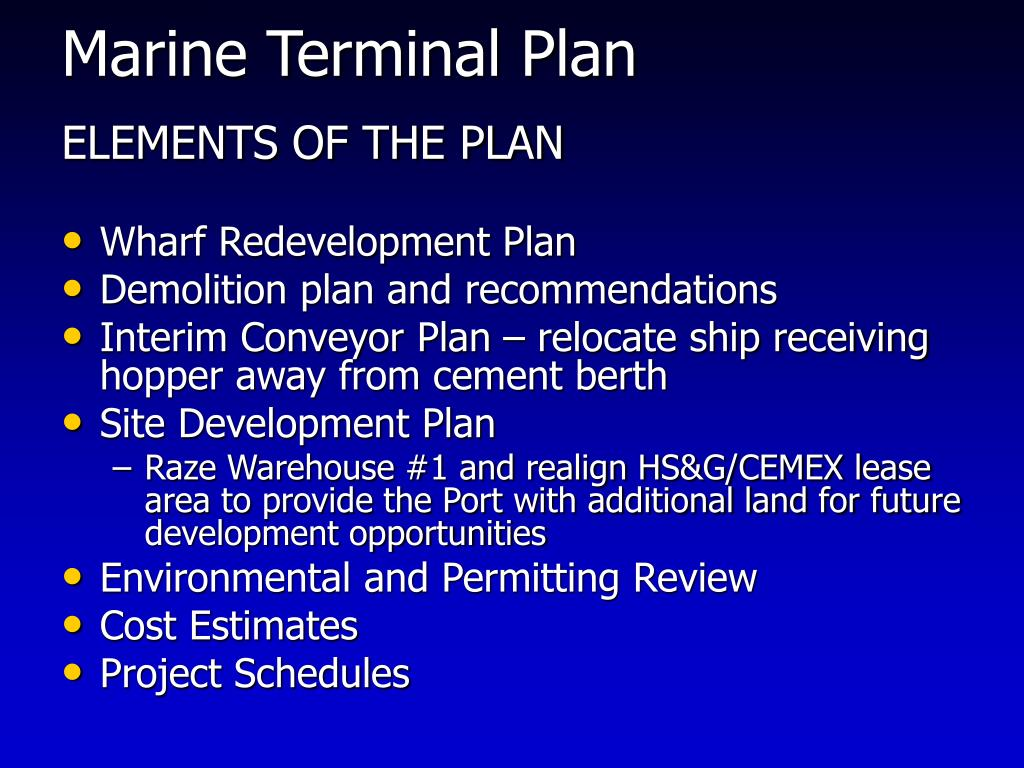 Marine Terminal Plan