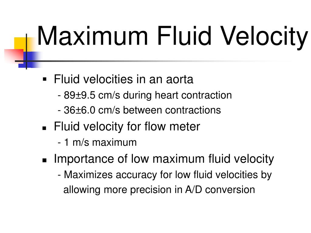 Maximum Fluid Velocity