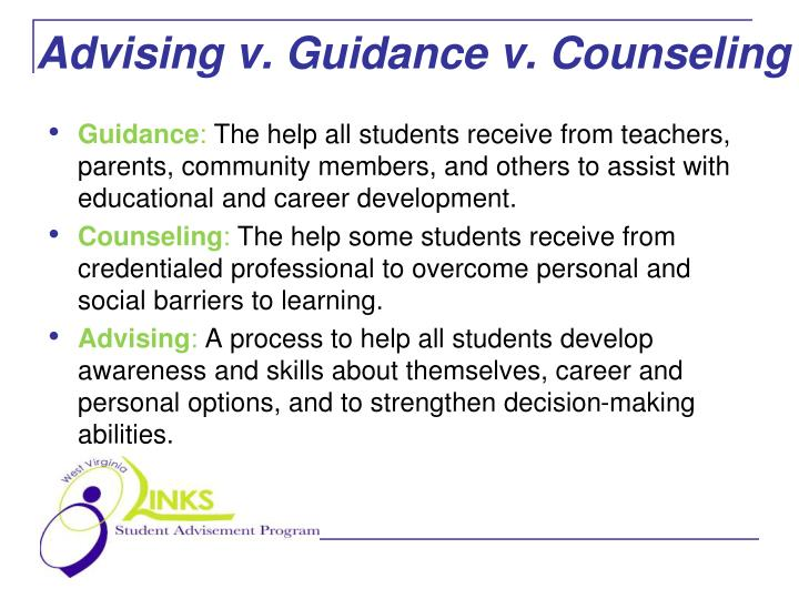 Advising v guidance v counseling l.jpg