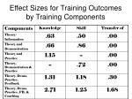 effect sizes for training outcomes by training components