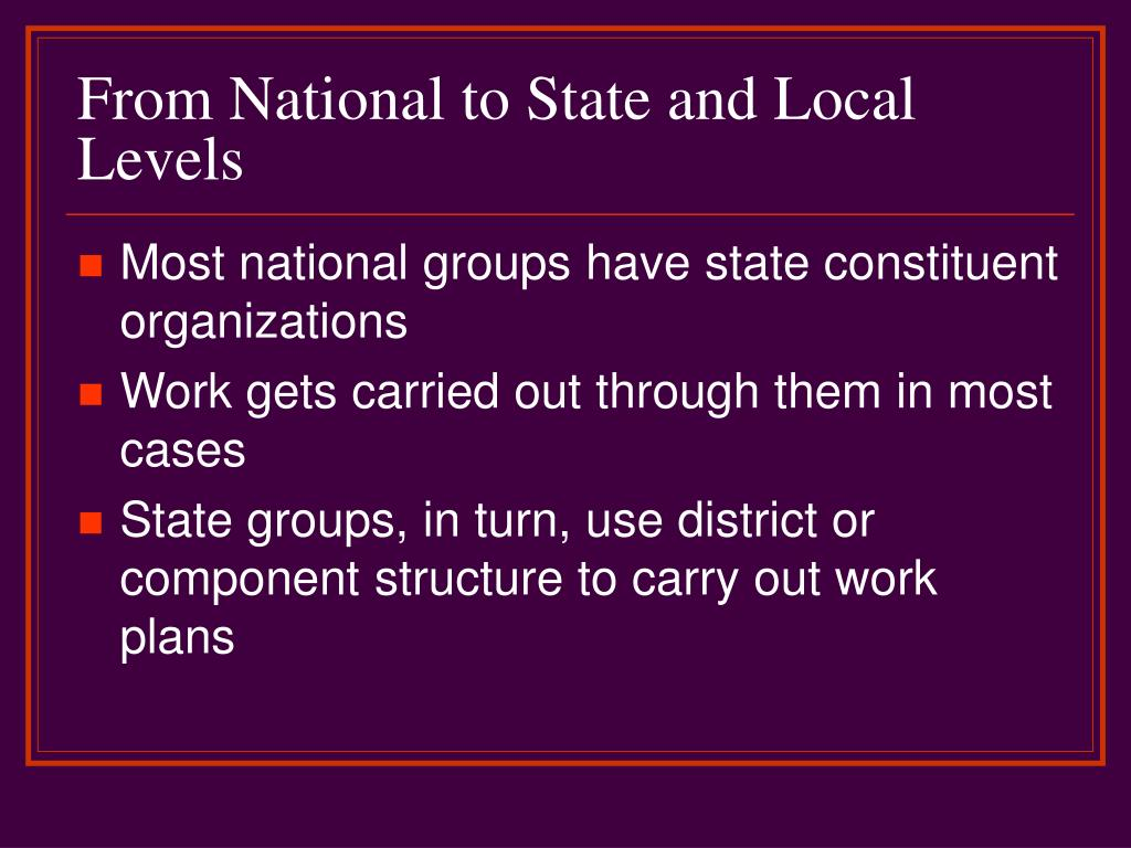 From National to State and Local Levels