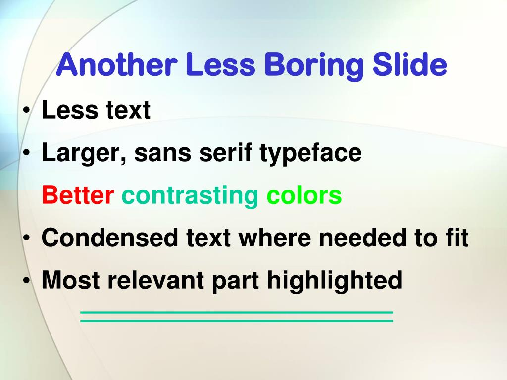 Another Less Boring Slide
