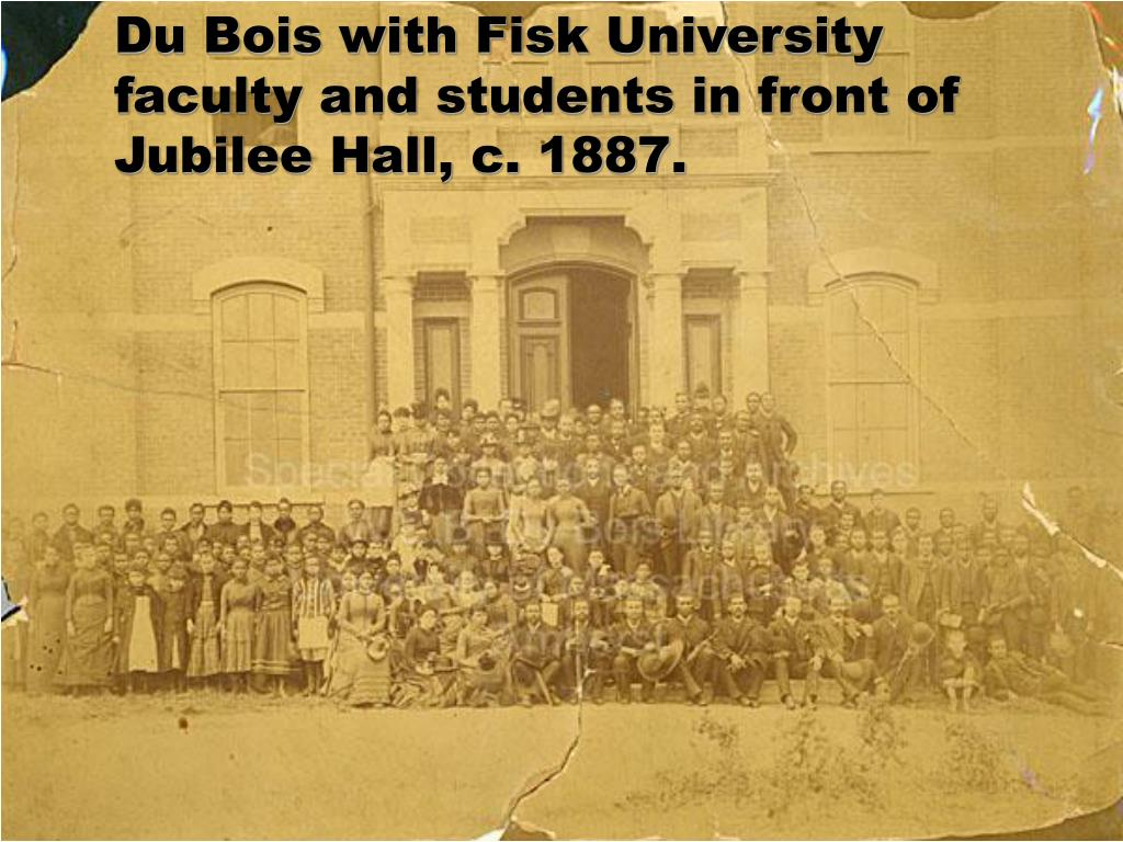 Du Bois with Fisk University faculty and students in front of Jubilee Hall, c. 1887.