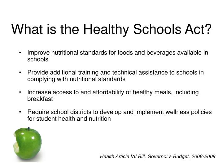 What is the healthy schools act