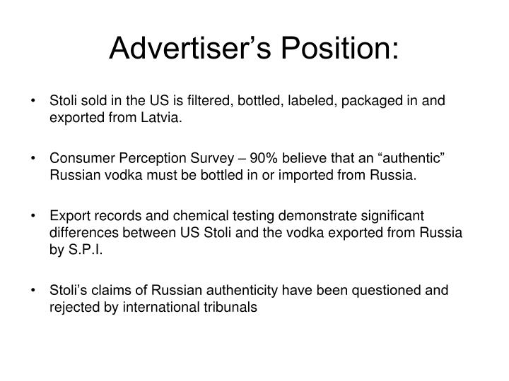 Advertiser's Position: