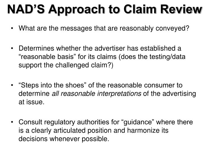 NAD'S Approach to Claim Review
