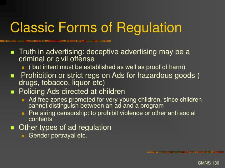 Classic Forms of Regulation