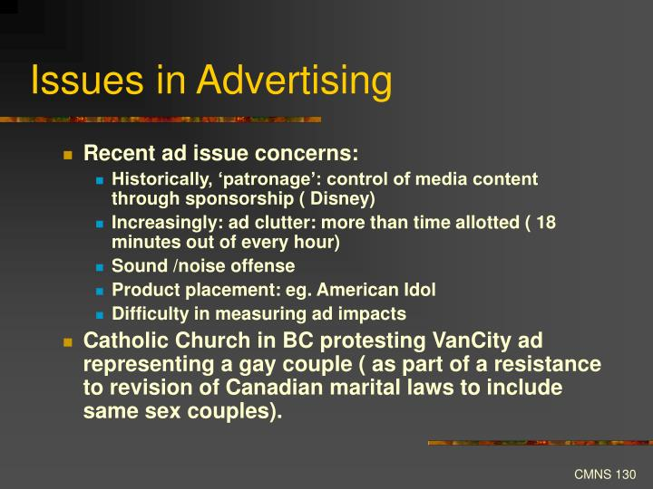 Issues in Advertising