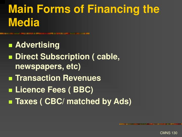 Main Forms of Financing the Media