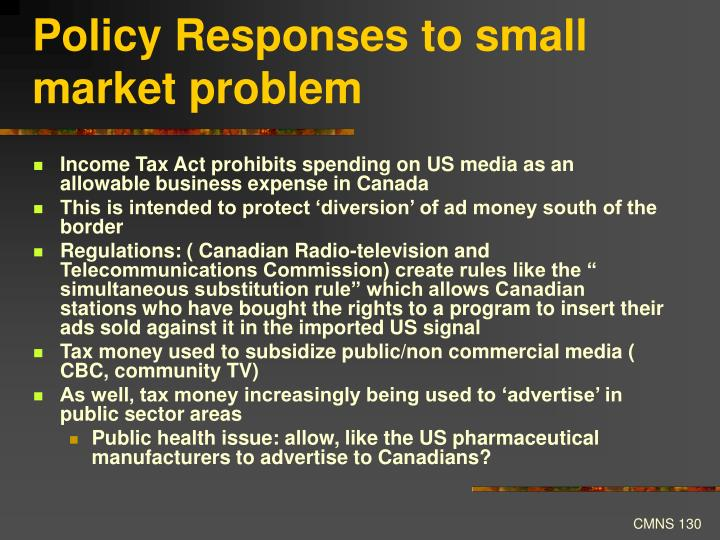 Policy Responses to small market problem