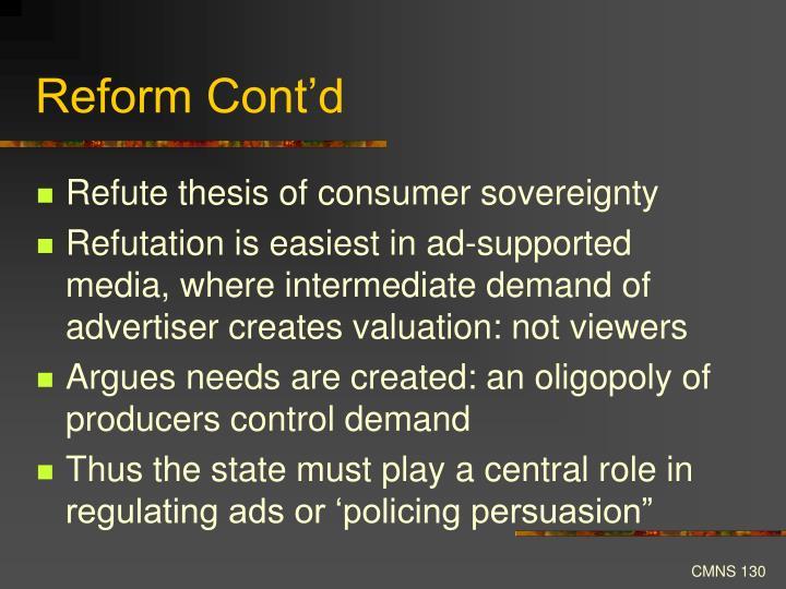 Reform Cont'd