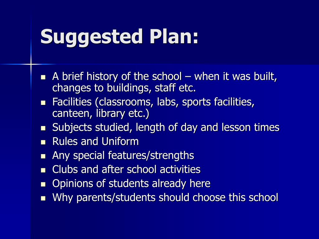 Suggested Plan: