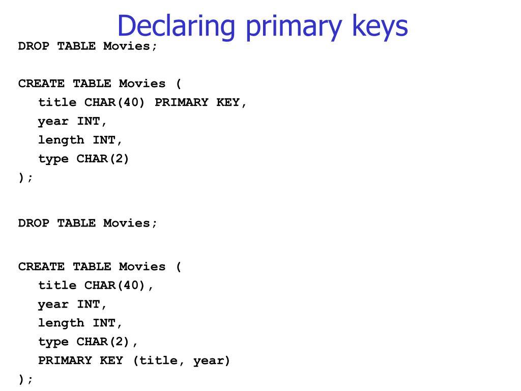 Declaring primary keys