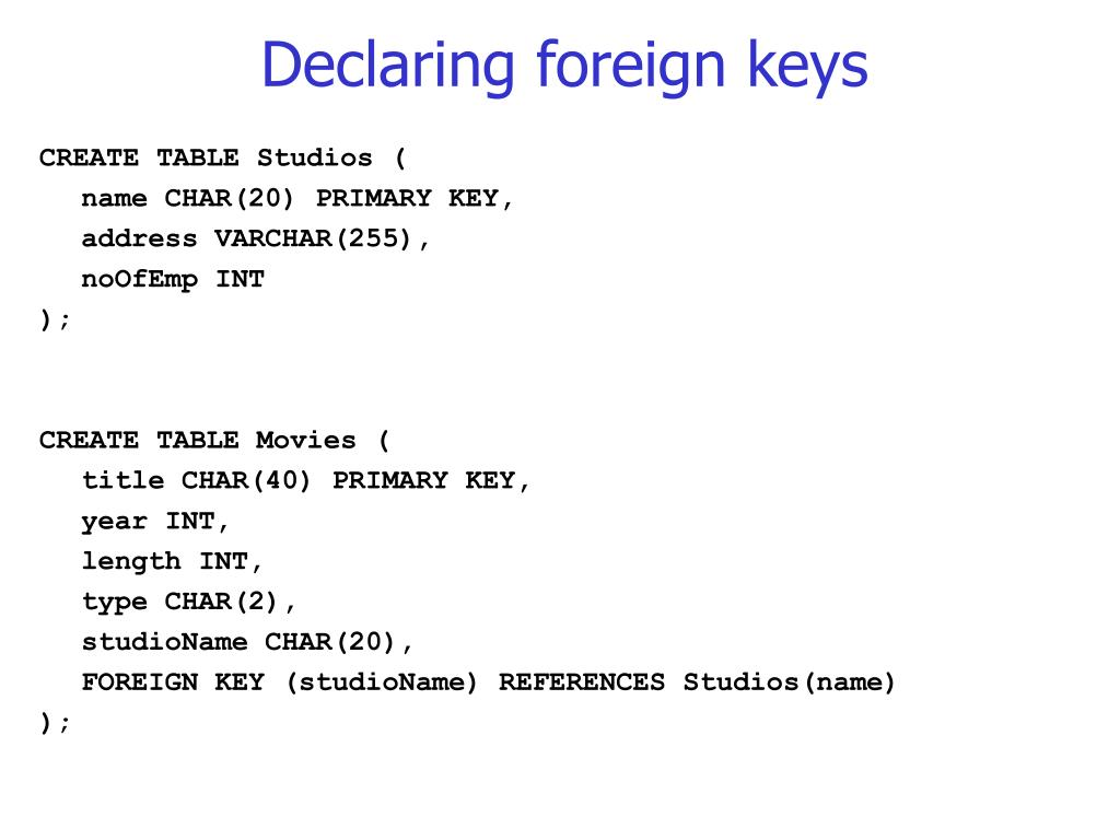 Declaring foreign keys