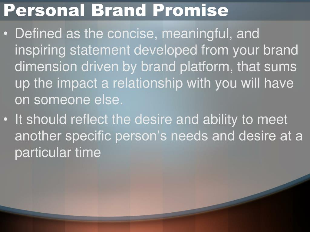 Personal Brand Promise