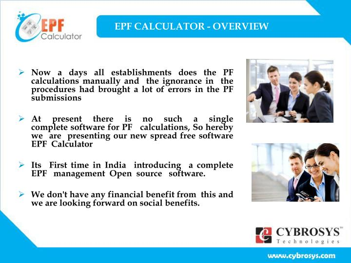 Epf calculator overview