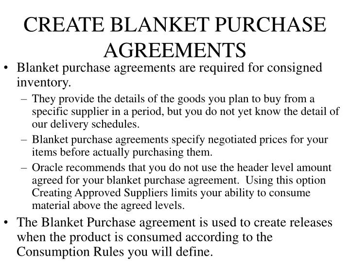 CREATE BLANKET PURCHASE AGREEMENTS