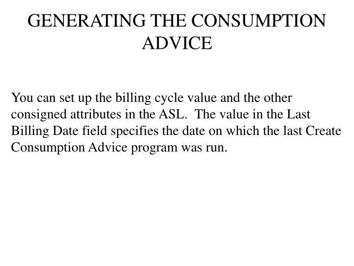 GENERATING THE CONSUMPTION ADVICE