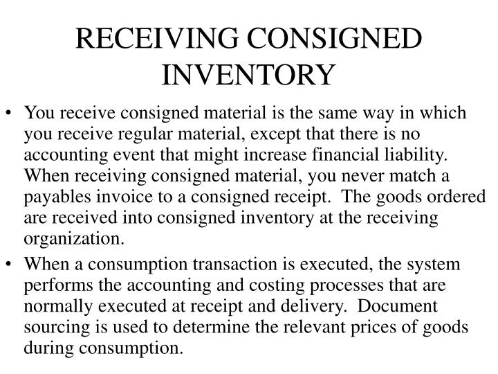RECEIVING CONSIGNED INVENTORY