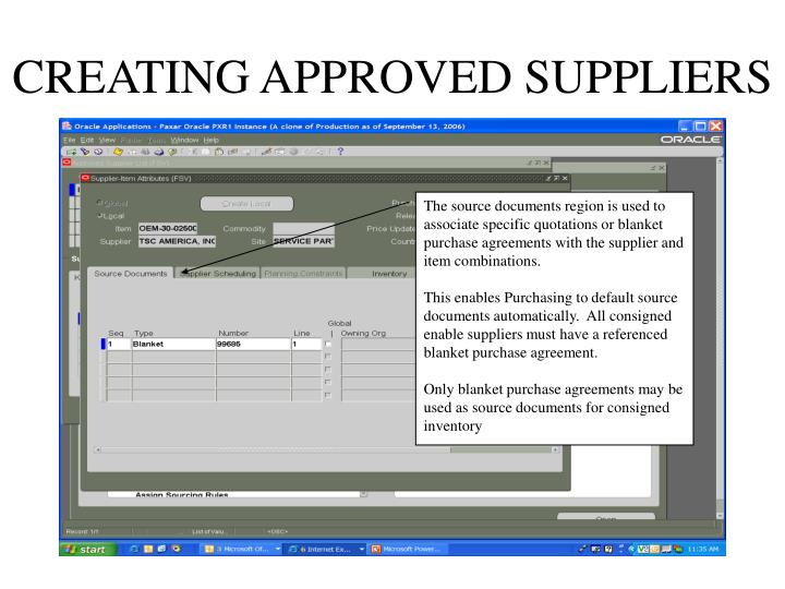 CREATING APPROVED SUPPLIERS