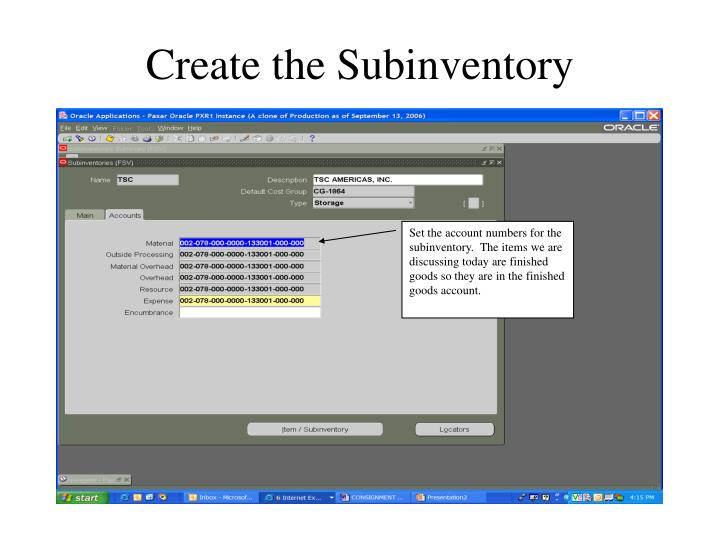 Create the Subinventory