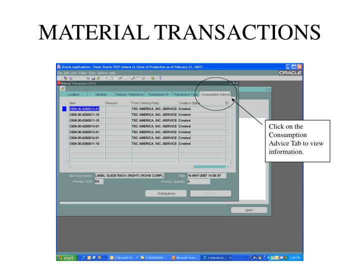 MATERIAL TRANSACTIONS