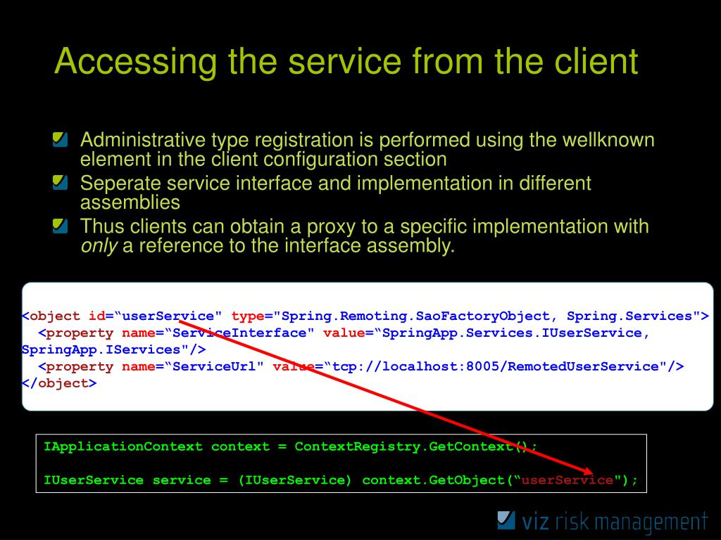 Accessing the service from the client