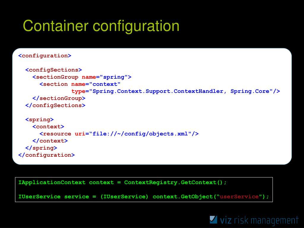 Container configuration