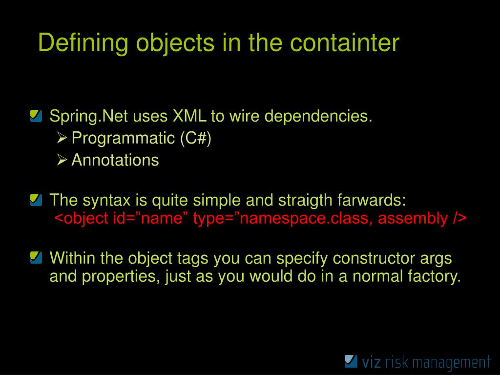 Defining objects in the containter