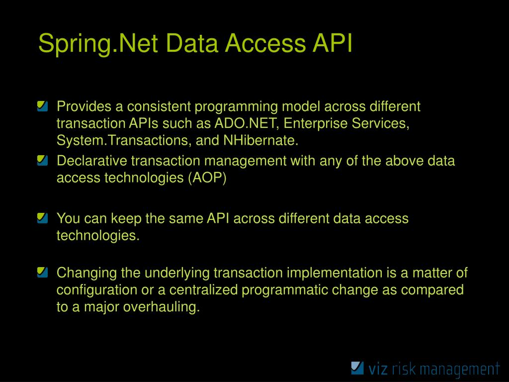 Spring.Net Data Access API