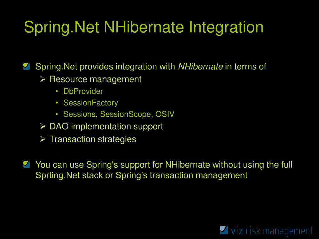 Spring.Net NHibernate Integration