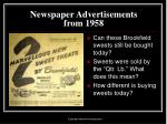 newspaper advertisements from 195815